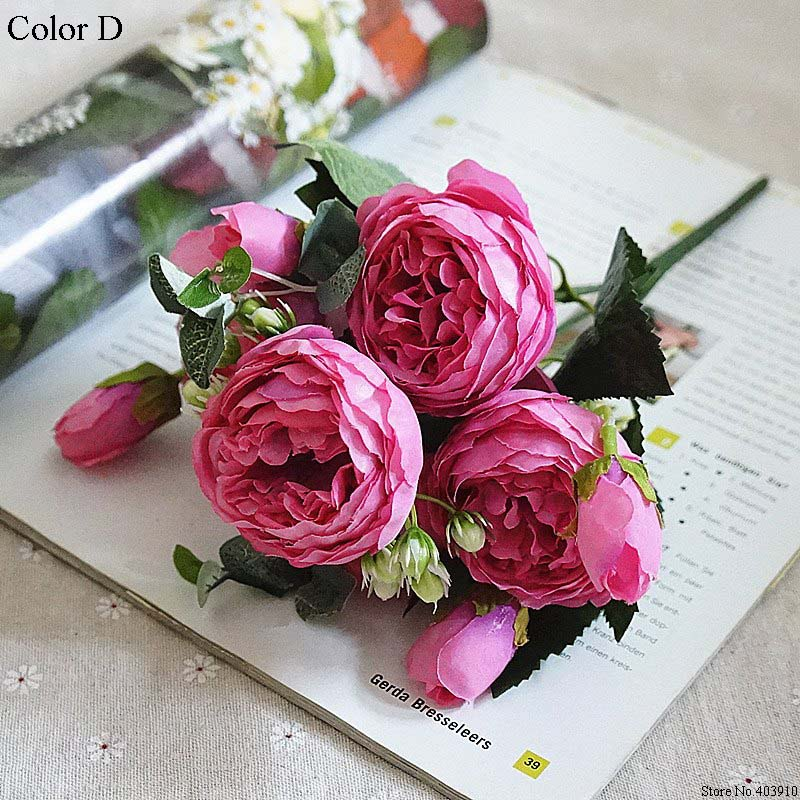 Silk Rose Peony Artificial Flowers Small Bouquet For Wedding Decoration 16