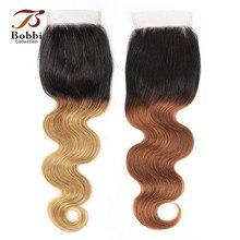 Bobbi Коллекция T 1B 30 закрытие шнурка Омбре коричневый каштановый Бразильский объемная волна ручная завязанная 4*4 закрытие шнурка Remy человеческие волосы 8-20 дюймов