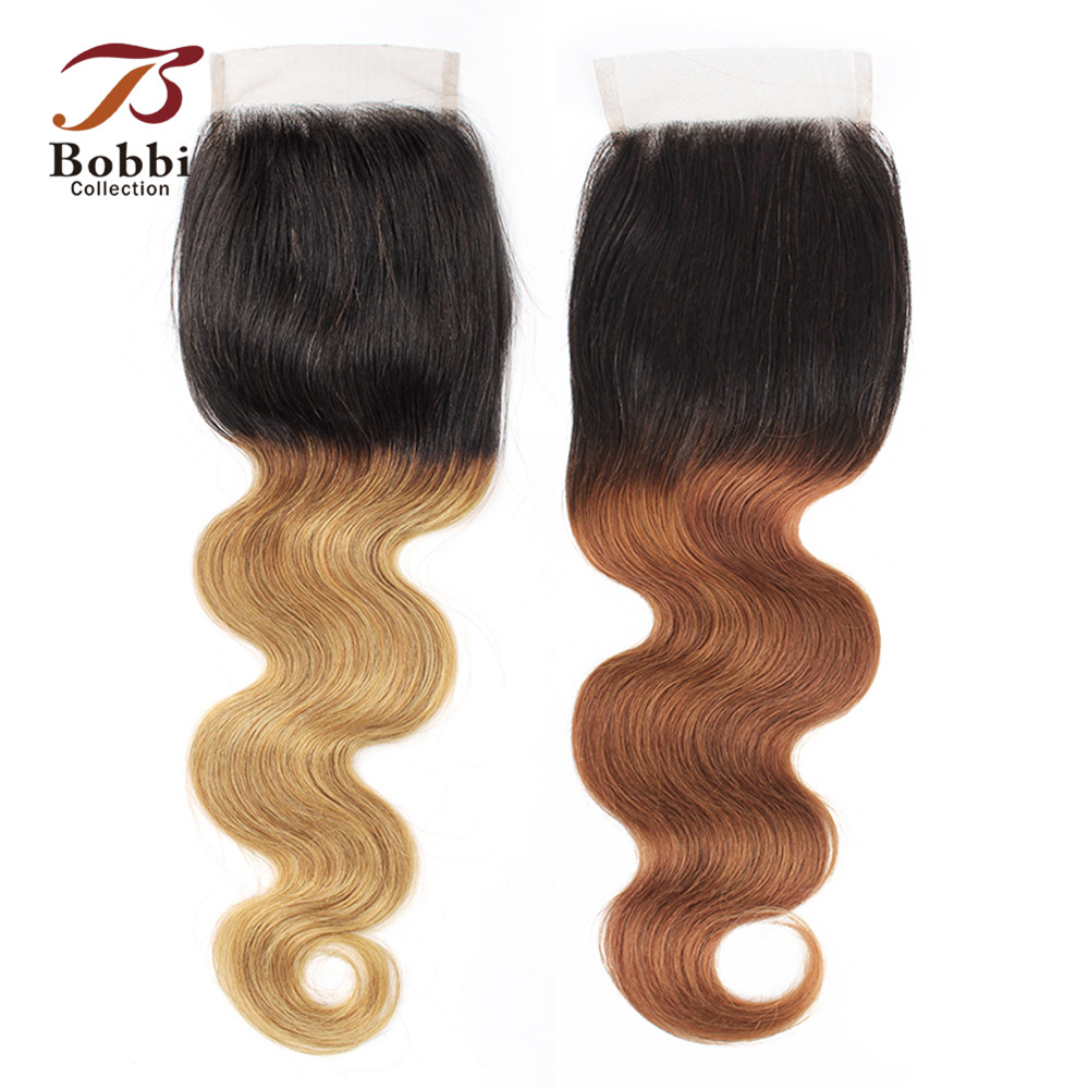 Bobbi Collection T 1B 30 Lace Closure Ombre Brown Auburn Brazilian Body Wave Hand Tied 4*4 Lace Closure Remy Human Hair 8-20inch