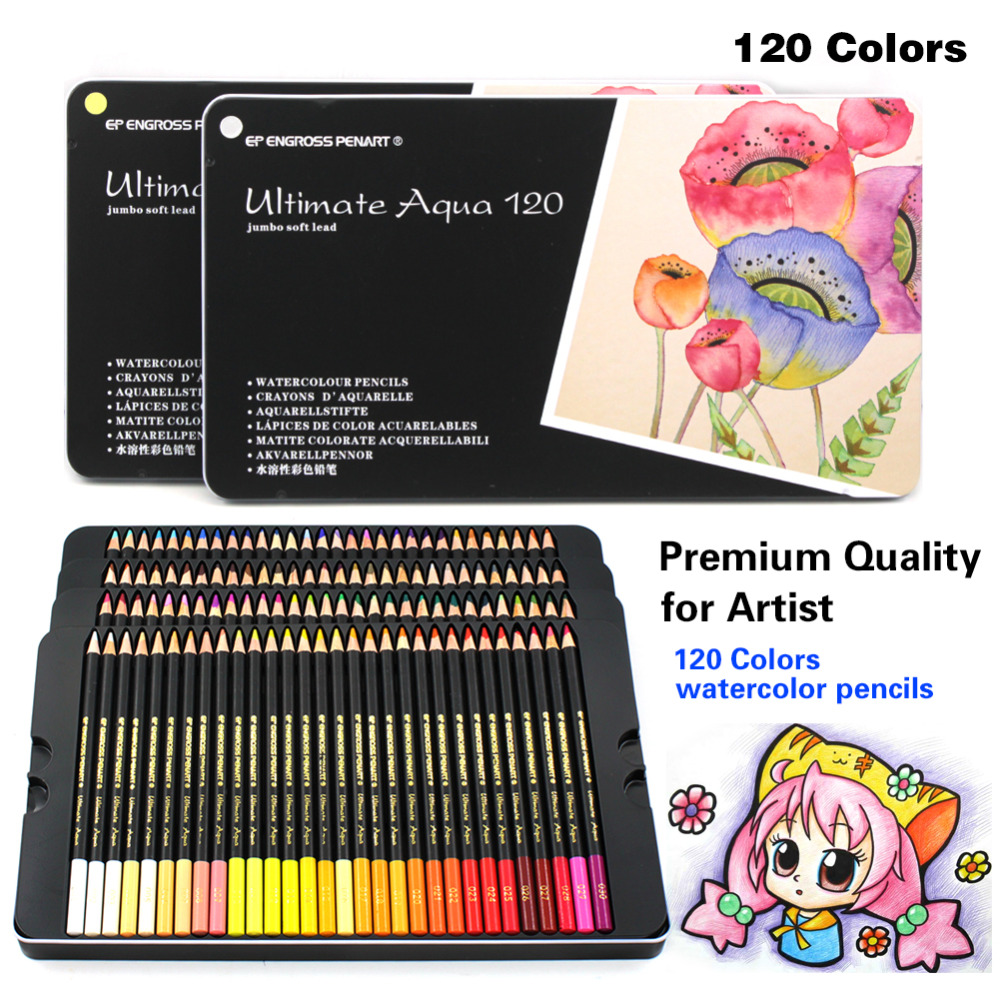 High Quality 120 Colored Pencils Professional 120 colores Watercolor Pencil Set Art School Student Supplies colors pencil 48 paint brush 2 pencil sharpener 1 professional oily colores watercolor pencil set art painting supplies