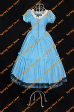Free Shipping Top Quality Alice in Wonderland Heroine Alice Palace Style Cosplay Costume Custom Made Light Blue Dress