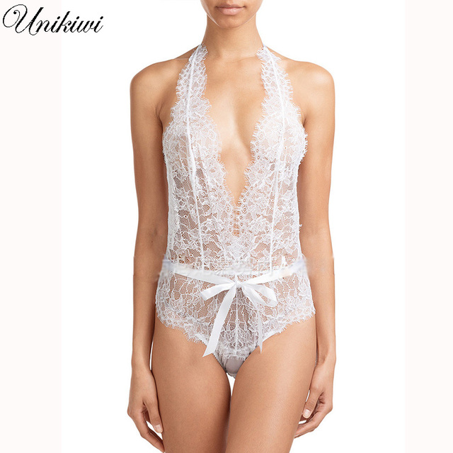 34707ac679b Women White Lace Deep V Jumpsuit Romper.Bow Bodycon Bodysuit Camisole.Sexy  Lingerie Backless Transparent Lace Nightwear Pajamas