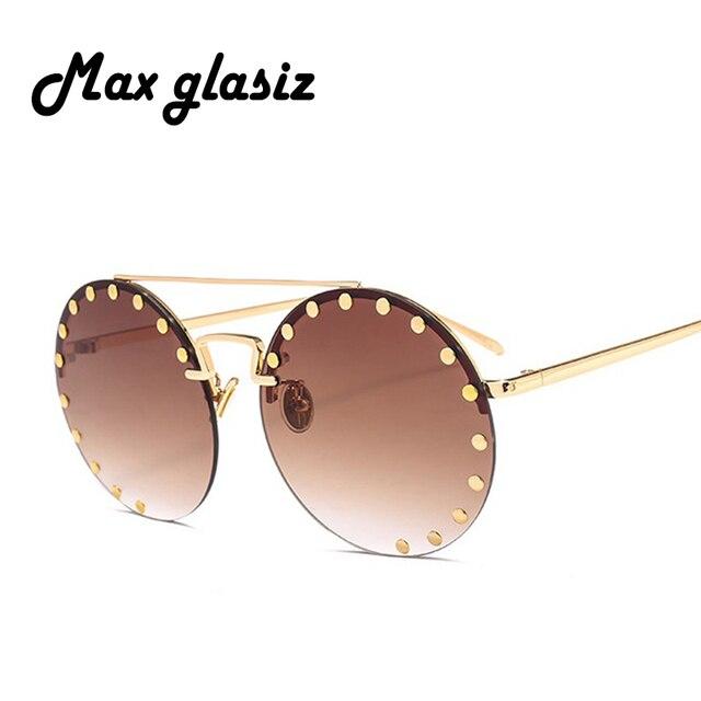 4603faf216 Max Glasiz New Arrival Street Trend Sunglasses Women 2018 Vintage Round  Rivet Color Lens Sunglasses Fashion