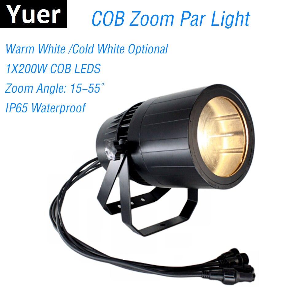 COB Zoom Par lumière 200 W chaud/froid blanc Dj effet d'éclairage lavage lumière DMX 512 contrôleur nuit Club lumière faisceau projecteur fête