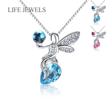 Authentic 100% 925 Sterling Silver Crystal Love Angel Pendants Charm l Women Luxury Valentines Day Gift Jewelry XLDZ-18123