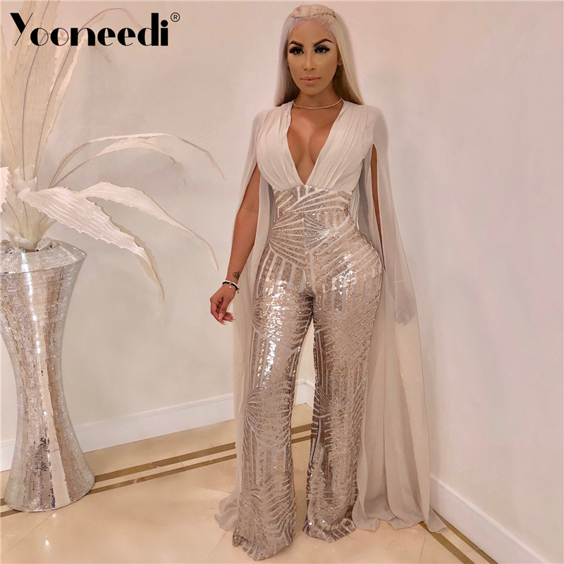 Women's Clothing Symbol Of The Brand Yooneedi 2019 Autumn New Arrilval Style Sexy Women Jumpsuits 3 Color Solid Sequins V-neck Novelty Sleeve Night Club Romper M-868 Pure Whiteness