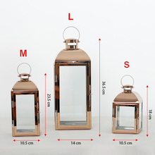 Stainless steel Rose Gold lantern Candlestick European candle holders Glass holder romantic decoration