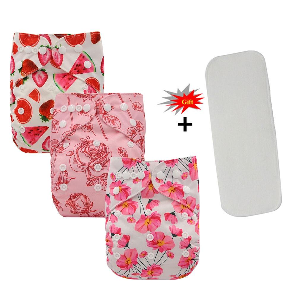 Ohbabyka Newborn Reusable Nappies Baby Cloth Diaper Cover Boys Training Pants Washable Baby Pocket Diapers+Microfiber Insert