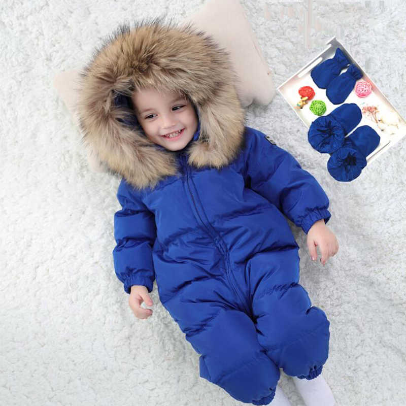 01a7c40a8 Kids Snowsuit Warm Boys Girls Winter Overalls Baby Rompers Duck Down  Jumpsuit Real Fur collar Thick