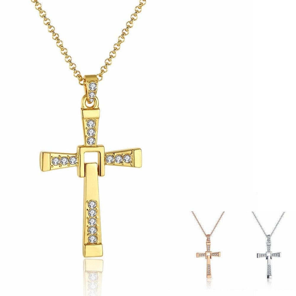 5 * 2.7cm oro / oro rosa / plata collares cruzados colgantes 65cm - Joyas - foto 2