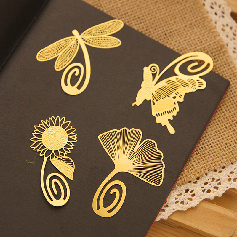 2015 New Fashion Plant Cutout Blade Butterfly Dragonfly Metal Bookmark Vintage Gift Box Packing 4pcs/lot