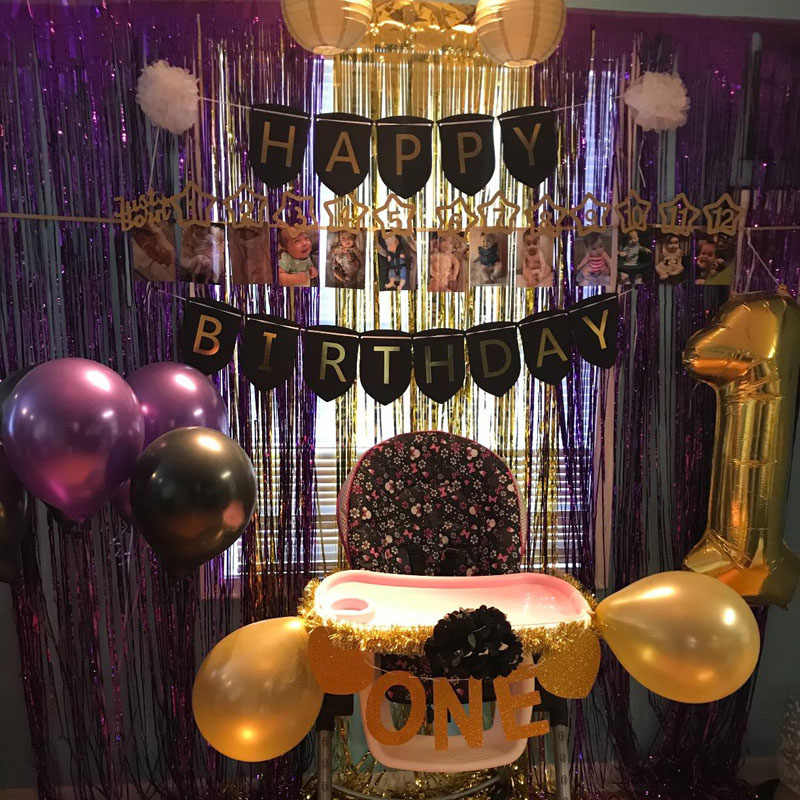 Black Gold Party Decorations With Happy Banner Lantern Flower For 18th 20th 21st 30th 40th 50th