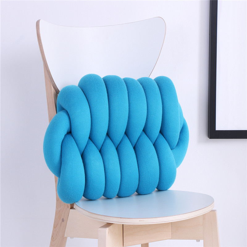 Home decor creative cushion tie a knot pillow pink waist cushions for sofa bed car cafe blue coffee gray 50*25cm gift textile