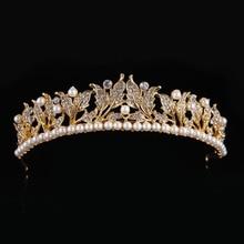 Classic Fashion Imitation Pearl Tiara Crown  Rhinestones Women Hair Jewelry Romantic Wedding Crown Hairwear CY161117-130