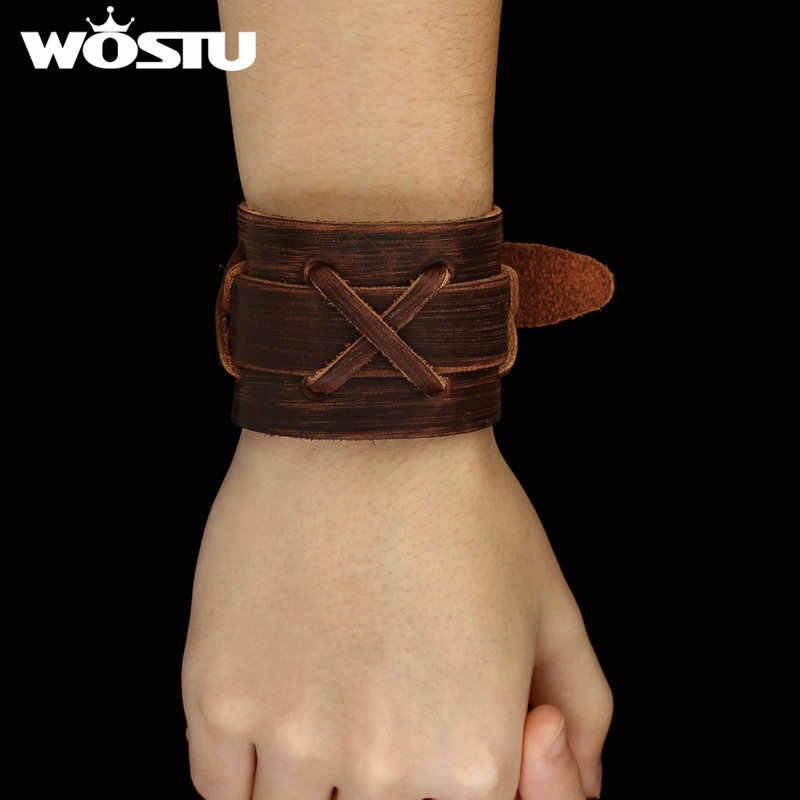 100% prawdziwej skóry Wrap Vintage brązowy bransoletka i bransolety mankiet podwójna szeroka biżuteria dla kobiet mężczyzn Unisex prezent XCJ0335