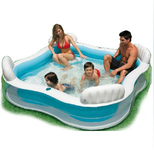 High Quality PVC Family Swimming Pool with 4 Back Seat and Cushion Inflatable Pool Luxury Bath Pool 229*229*66cm thicker version deluxe edition 2 meters large family luxury inflatable swimming pool game pool children s play pool