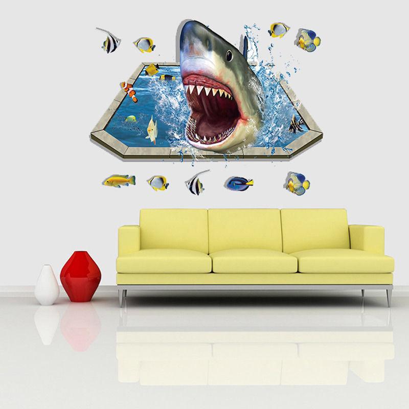 2016 DIY 3D Removable Wall Sticker Shark Eat Fish Vinyl Art Sticker ...