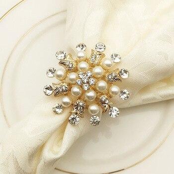 SHSEJA 50PCS  Hotel Napkin Ring Round Flower Pearl Napkin Buckle Christmas Wedding Party Napkin Circle Desktop Decoration
