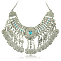 Bohemian Jewelry Collar Necklace Women Resin Gem Coin Tassels Statement Necklace Turkish Gypsy Ethnic Tribal Belly