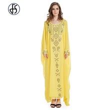 Fashion Muslim Abaya Chiffon Dress Batwing Sleeve Robe kaftan dubai India Loose Style Moroccan Islamic Rhinestone Clothing
