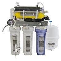 7-palco Sob Pia Mineral Ultravioleta de Osmose Reversa de Água Sistema de Filtração  75GPD Mineralização RO Sistema com medidor de Pressão