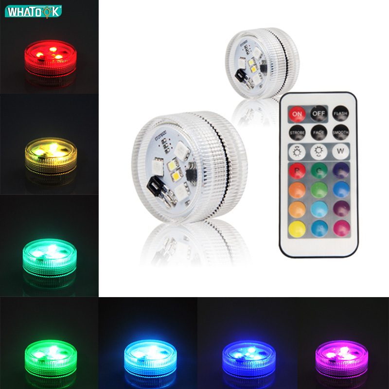 IP68 LED RGB Submersible Light Waterproof Remote Swimming Pool Night Lamp Decor Party Wedding Holiday Celebration With Battery