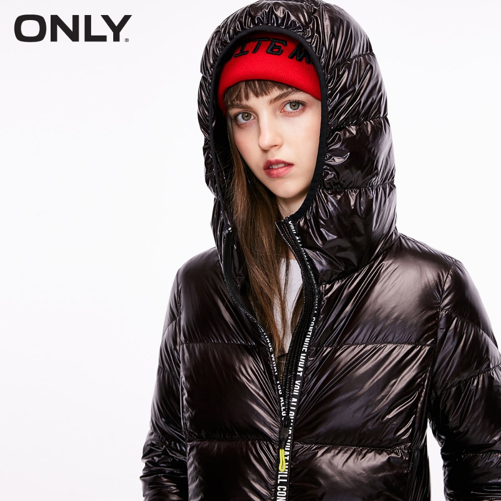 ONLY  Womens' Winter New Slim Duck Down Jacket Short Letter Zipper Light And Comfortable Fabric|118423502