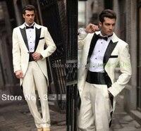Maatwerk mannen tuxedo bruidsjonkers jurk/italiaanse westerse lange stijl bruiloft man pak/bruidegom suits (Jas + Broek + gordel)