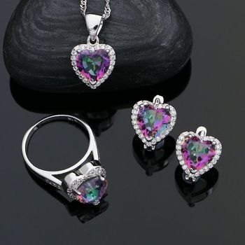 Heart 925 Sterling Silver Jewelry Sets For Women Mystic Rainbow Cubic Zirconia White Crystal Earrings Ring Necklace Pendant Set