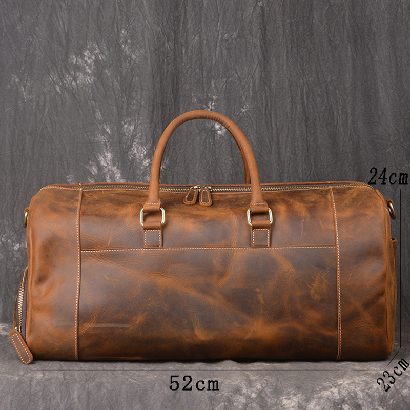 9726488f01e2 Crazy Horse Genuine Leather Travel Bag Men Vintage Travel Duffel bag big  Cow Leather Carry On Luggage Weekend large shoulder Bag-in Travel Bags from  Luggage ...
