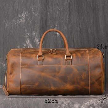 Crazy Horse Genuine Leather Travel Bag Men Vintage Travel Duffel bag big Cow Leather Carry On Luggage Weekend large shoulder Bag