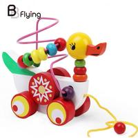 Duck Pulling Trailer Kids Babys Educated Toys Wire Beads Developmental Abacus