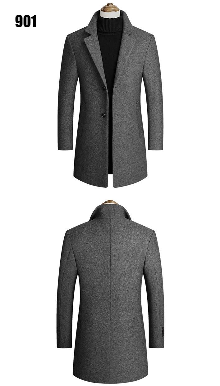 Winter Wool Jacket Men's High-quality Wool Coat casual Slim collar wool coat Men's long cotton collar trench coat 7