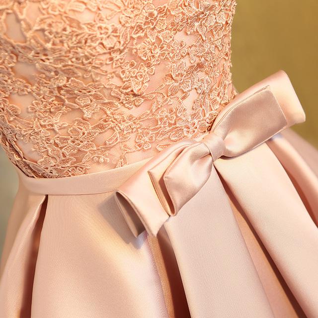 Aswomoye Elegant Short Evening Dress New Stylish Illusion O-Neck Wedding Party Dress Sleeveless with Bow robe de soiree