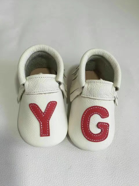 High quality Genuine Leather Baby Moccasins Shoes letter printed Baby girls Shoes soft rubber sole first walker Infant Shoes