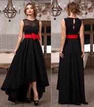 Stunning black Hi-Lo Bridesmaid Dresses with red Bow cheap wedding prom dresses vestido de festa custom made
