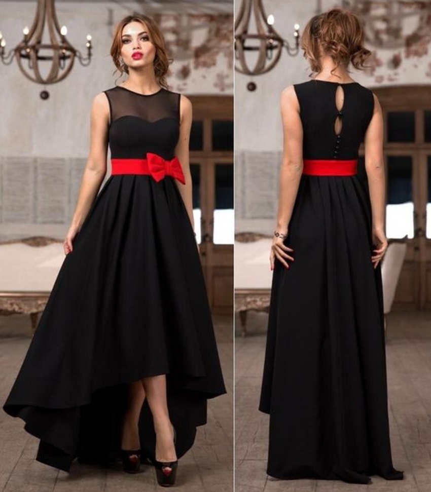 Stunning Black Hi Lo Bridesmaid Dresses With Red Bow Wedding Prom Vestido De