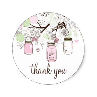 3 8cm pink and mint green mason jars thank you sticker in stickers