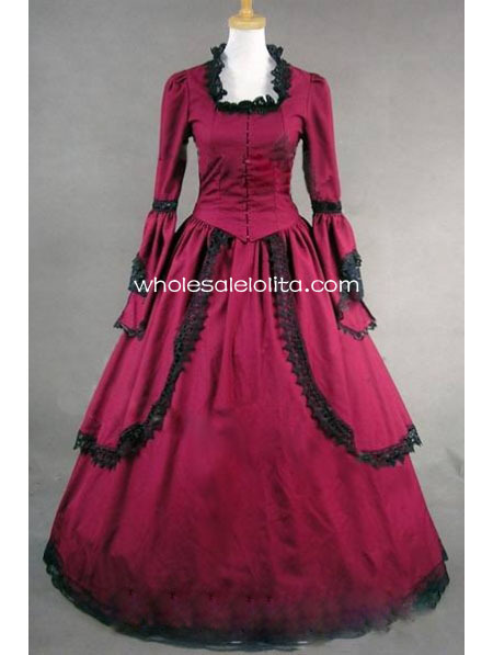 Gothic Red Cotton Trumpet Sleeves Victorian Period Dress Masquerade Ball Themed Dress