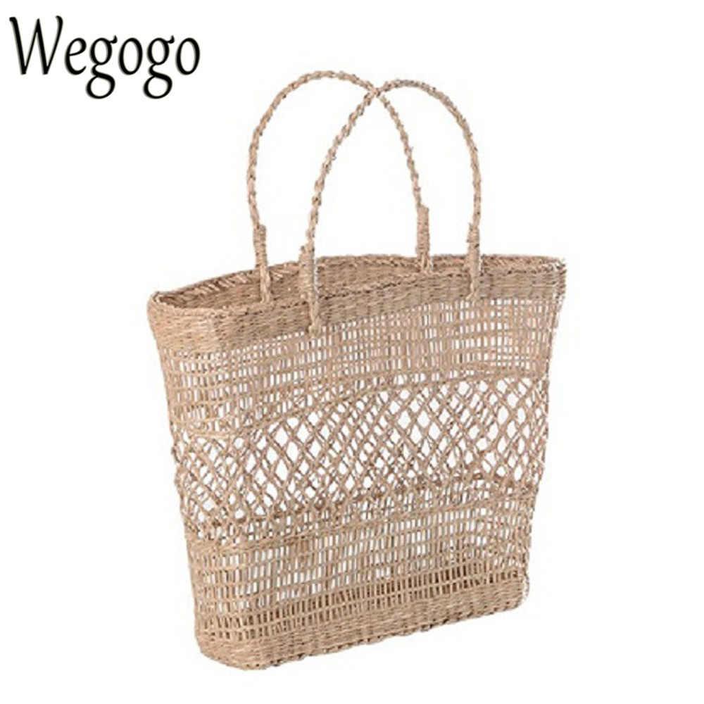 0b2d62e375 New Arrive Women Straw Bag Handbags Handmade Braided Ladies Holiday Beach  Bag Indian Thai Travel Woven