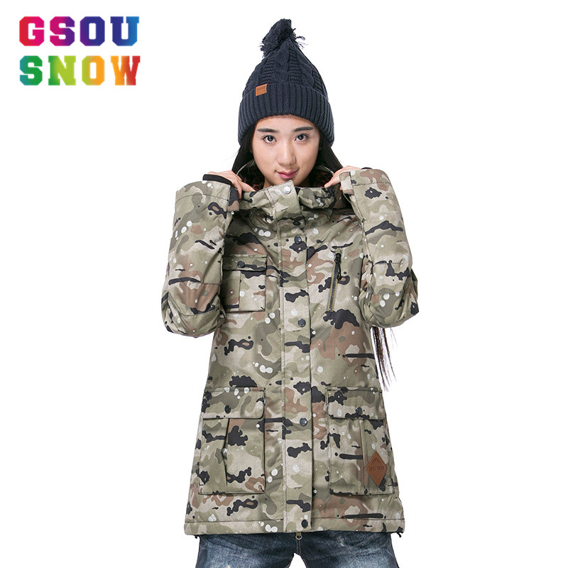 GSOU SNOW Ski Jacket Women Snowboard Jacket Winter Waterproof Hooded Outdoor Skiing Suit -30 Degree Camping Snowboarding Clothes gsou snow brand winter ski jacket women snowboard jacket waterproof plus size outdoor skiing snowboarding snow clothes female