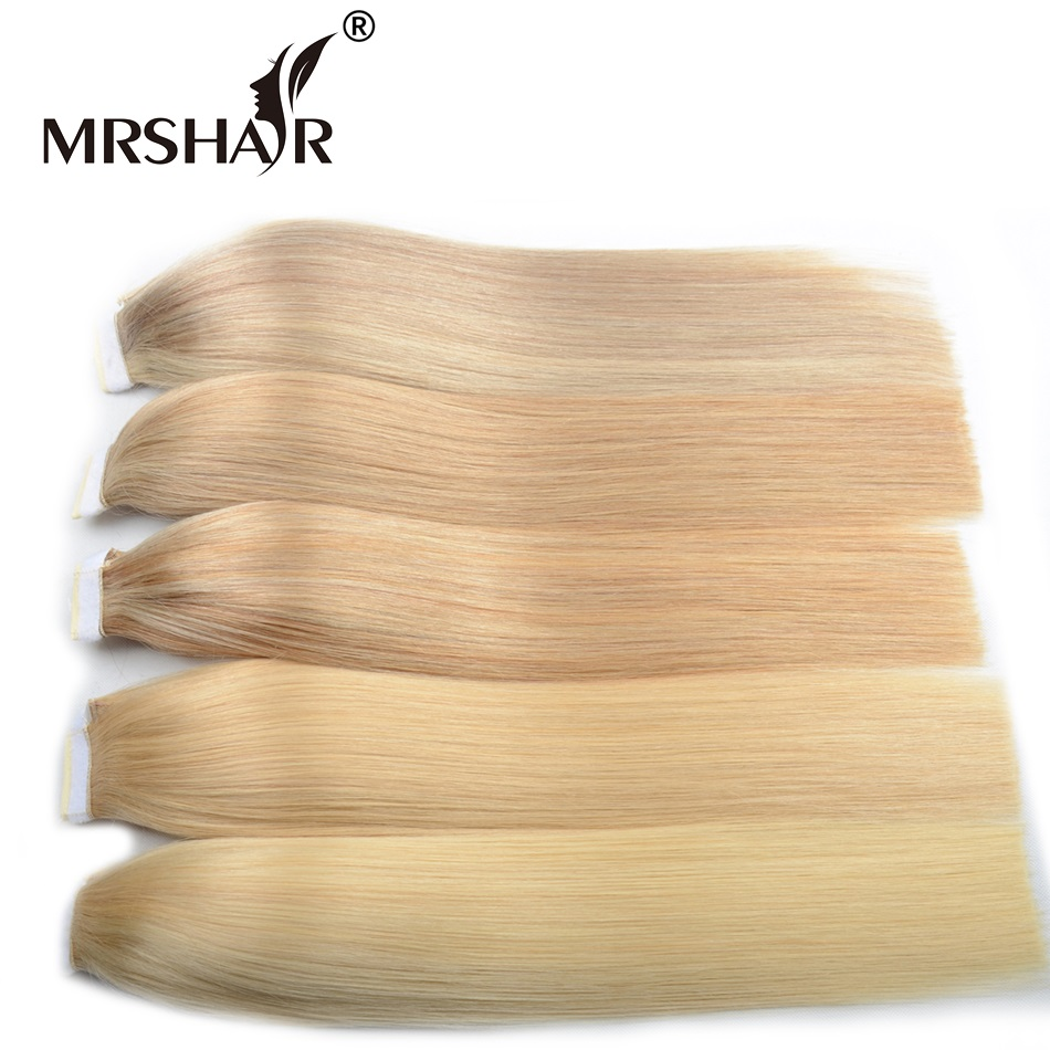 MRSHAIR Thick Machine Made Remy Blonde Human Hair Ponytails 18inches 22inches Brown Hair Clip In Ponytails Hairpieces Tail ...