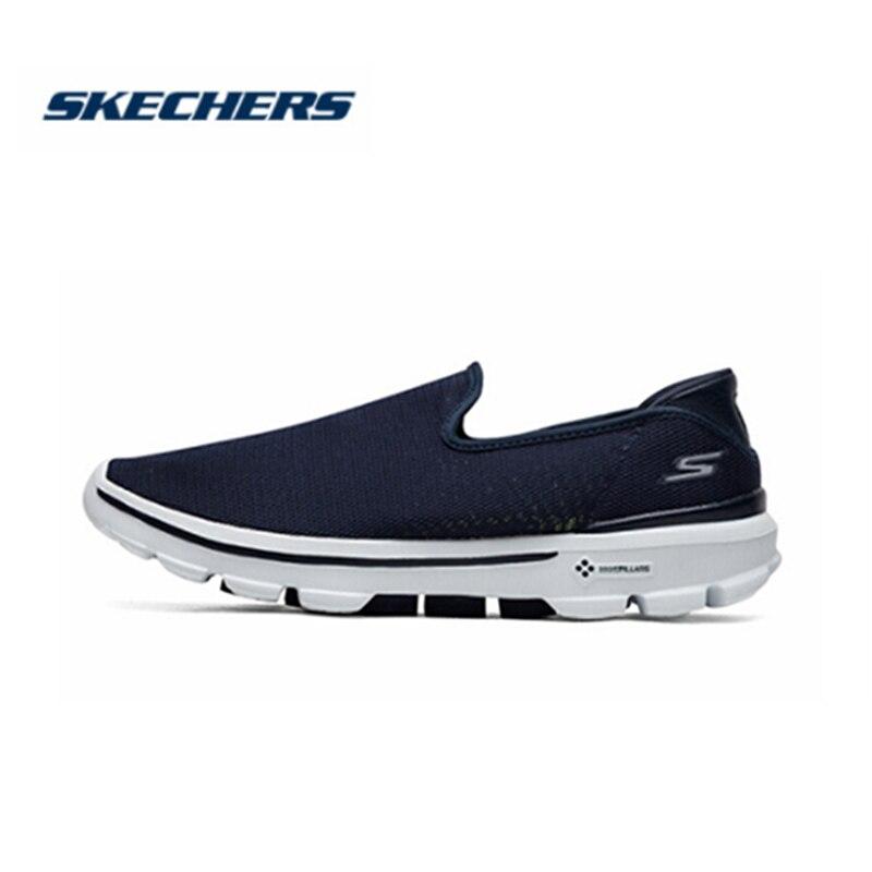 Skechers/Мужская обувь; Лоферы для прогулок; повседневная обувь черного цвета без застежки; Мужская Удобная дышащая обувь на плоской подошве; Мужская брендовая Роскошная обувь; 54062 BKW