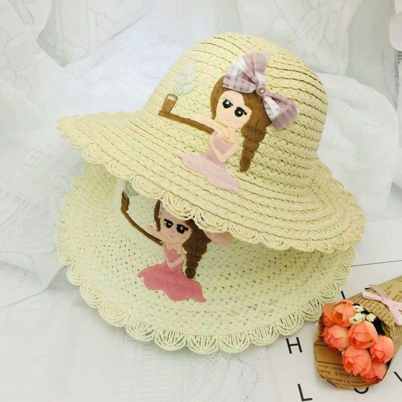 2019 New Children Summer Straw Hat Sun Hat Visor Beach Cap Cute Cartoon Pattern Caps For Girls Kids Hat in Hats Caps from Mother Kids