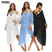 PGSD Simple Fashion Women Clothes Irregular hook Shoulder-exposed stitching V-neck long Batwing sleeve beach Blouse Dress female