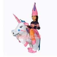 Kids Inflatable Unicorn Costume Purim Halloween Christmas Party Princess Costumes Fan Operated Kids Fancy Dress