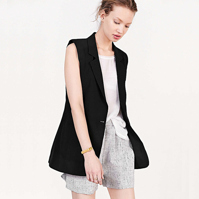 2016  fashion long solid color black lapel collar vest jacket sleeveless blazer thin veste femme colete feminino chalecos mujer