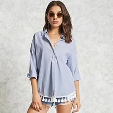 Female Blouse Shirt Blue Striped Shirt 2017 Women Tassel Cotton Blouse Long sleeve blouse women tops blusas