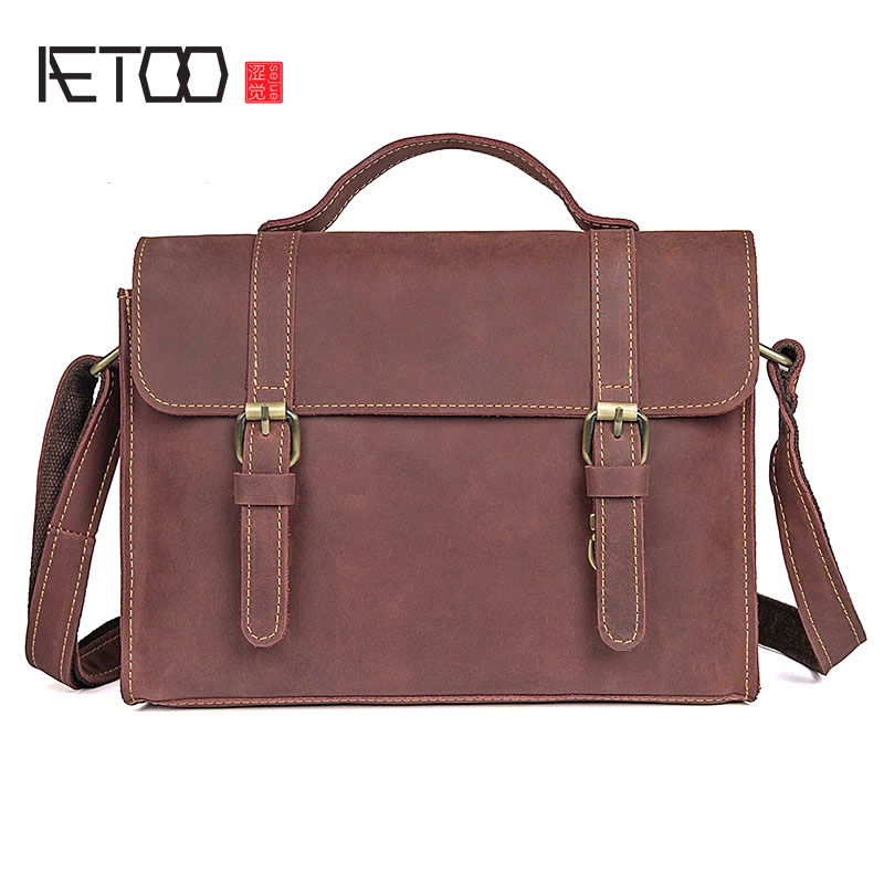 AETOO Creative new mad horse leather handbag male retro handbag diagonal package bag shoulder bag briefcase 20inch n female jack to rp sma male plug right angle rf adapter connector 50cm semi flexible blue jacket jumper cable rg402