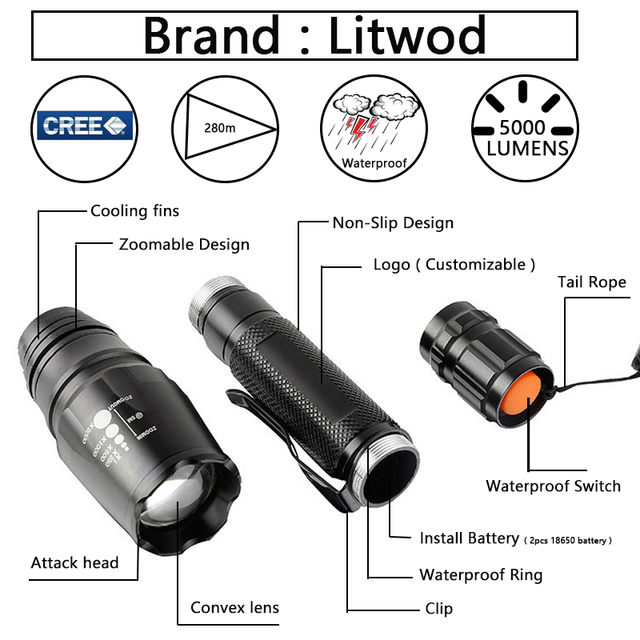 Z35 LED Flashlights Torch CREE XM-L2 zoomable led torch For 2×18650 batteries aluminum led bicycle flashlight light tactical